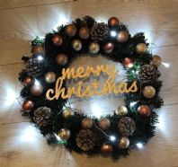 Christmas Spruce Wreath Rose Gold Bauble Fairy Lights Front Door Wall Decoration